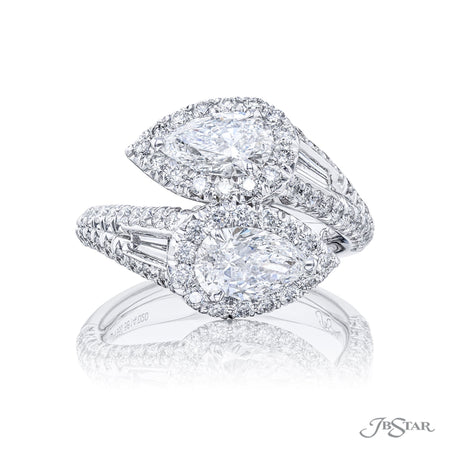 5614-020 | Twogether Diamond Ring Pear-Shaped 1.50 ctw. Micro Pave Front View
