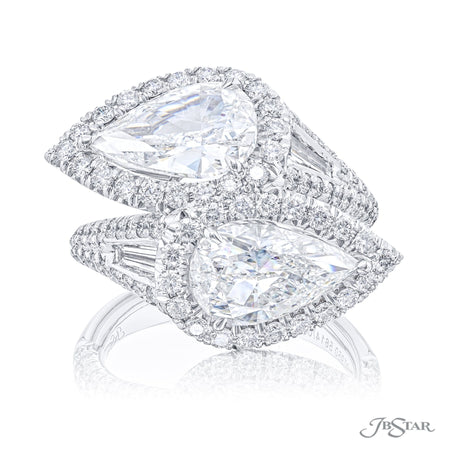 5614-021 | Twogether Diamond Ring Pear Cut 3.82 ctw. Micro Pave Front View