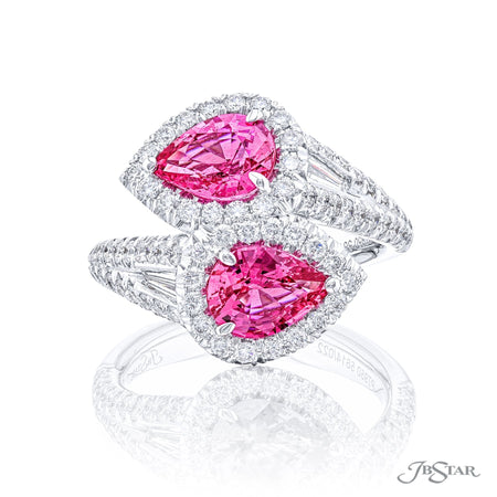 5614-022 | Twogether Pink Sapphire Ring Pear Cut 2.56 ctw. Micro Pave Front View