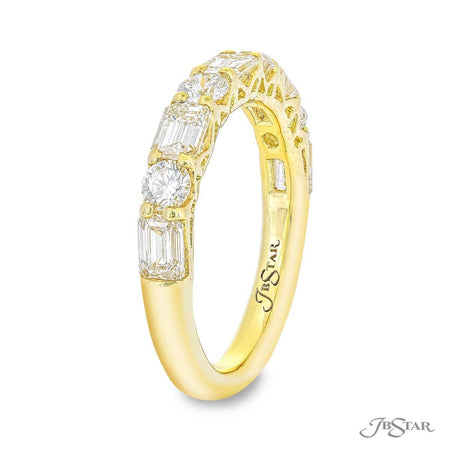Stunning diamond band featuring emerald-cut and round diamonds in our east to west design. Handcrafted in 18ky gold. [details] Stone Information SHAPE TYPE WEIGHT Emerald Diamond 1.27 ctw. Round Diamond 0.53 ctw. [enddetails] | JB Star 5619-015 Anniversary & Wedding
