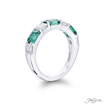 Gorgeous emerald and diamond band featuring emerald-cut emeralds and square emerald diamonds in a shared prong setting. Handcrafted in pure platinum. [details] Stone Information SHAPE TYPE WEIGHT Emerald Emerald 1.46 ctw. Square Emerald Diamond 1.20 ctw. [enddetails] | JB Star 5621-006 Anniversary & Wedding
