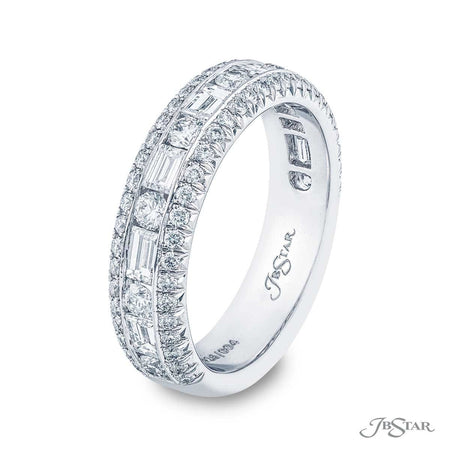 Stunning diamond wedding band featuring a center channel of straight baguettes and round diamonds in an alternating design hugged between two rows of micro pave. Handcrafted in pure platinum. [details] Stone Information SHAPE TYPE WEIGHT Round Diamond 0.82 ctw. Straight Baguette Diamond 0.81 ctw. [enddetails] | JB Star 5626-004 Anniversary & Wedding