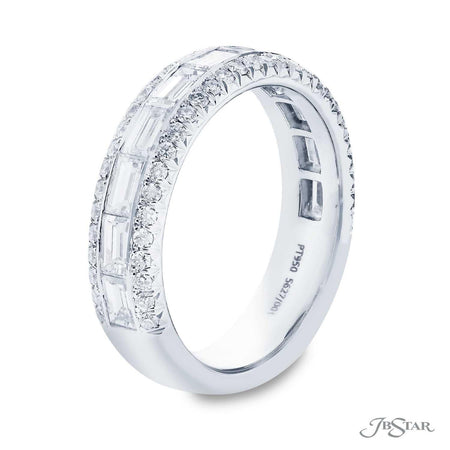 Stunning diamond wedding band featuring 11 straight baguette diamonds in a center channel surrounded by two rows of pave diamonds. Handcrafted in pure platinum. [details] Stone Information SHAPE TYPE WEIGHT Straight Baguette Diamond 1.32 ctw. Round Diamond 0.42 ctw. [enddetails] | JB Star 5627-001 Anniversary & Wedding