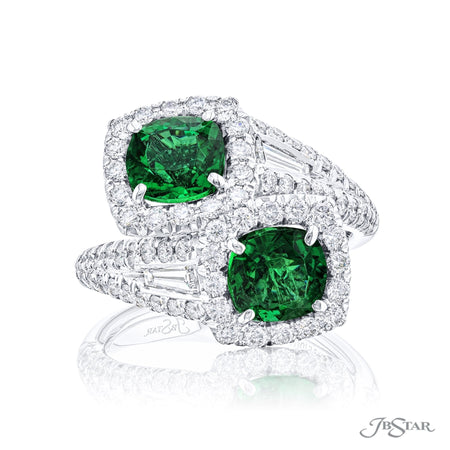 5635-003 | Twogether Emerald Ring Cushion Cut 2.40 ctw. Micro Pave Front View