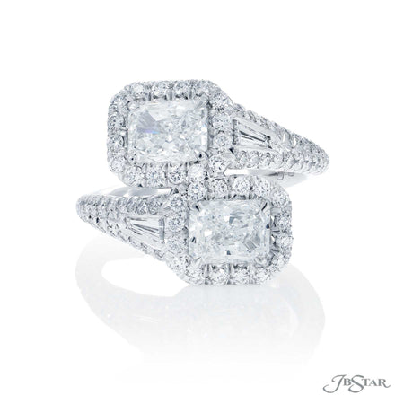 Platinum Two-Stone Micro Pave Radiant Cut Diamond Engagement Ring 5636-002