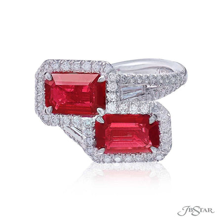 Gorgeous ruby and diamond ring from our Twogether collection featuring 2 certified emerald-cut Burma rubies embraced by tapered baguette diamonds in a micro pave setting. Handcrafted in pure platinum. [details] Center Stone(s) SHAPE TYPE WEIGHT Emerald Ruby 3.92 ctw. Notes: CDC Stone Information SHAPE TYPE WEIGHT Tapered Baguette Round Diamond Diamond 0.25 ctw. 0.87 ctw. [enddetails] | JB Star 5636-010 Precious Color Rings