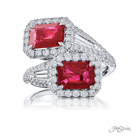 Gorgeous ruby and diamond ring from our Twogether collection featuring 2 certified emerald-cut Burma rubies embraced by tapered baguette diamonds in a micro pave setting. Handcrafted in pure platinum. [details] Center Stone(s) SHAPE TYPE WEIGHT Emerald Ruby 2.44 ctw. Notes: CDC Stone Information SHAPE TYPE WEIGHT Tapered Baguette Round Diamond Diamond 0.35 ctw. 1.00 ctw. [enddetails] | JB Star 5636-013 Precious Color Rings