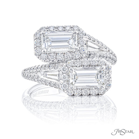 5636-025 | Twogether Diamond Ring Emerald Cut 1.81 ctw. Micro Pave Front View