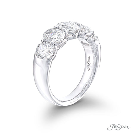 Gorgeous diamond wedding band featuring 5 oval diamonds in a shared prong setting. Handcrafted in pure platinum. [details] Stone Information SHAPE TYPE WEIGHT Oval Diamond 3.22 ctw. [enddetails] | JB Star 5638-005 Anniversary & Wedding