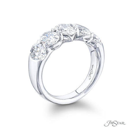 Gorgeous diamond wedding wedding band featuring 5 GIA oval diamonds in a shared prong setting. Handcrafted in pure platinum. [details] Stone Information SHAPE TYPE WEIGHT Oval Diamond 3.60 ctw. [enddetails] | JB Star 5638-006 Anniversary & Wedding