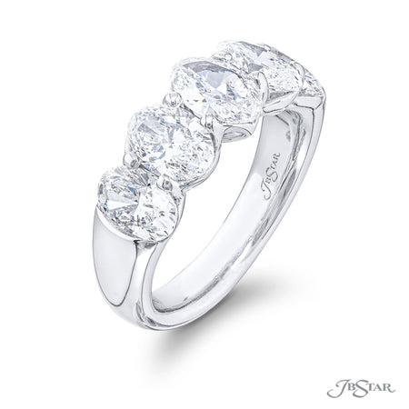5650-001 | Diamond Wedding Band GIA certified Oval Cut 3.43 ctw. Side View