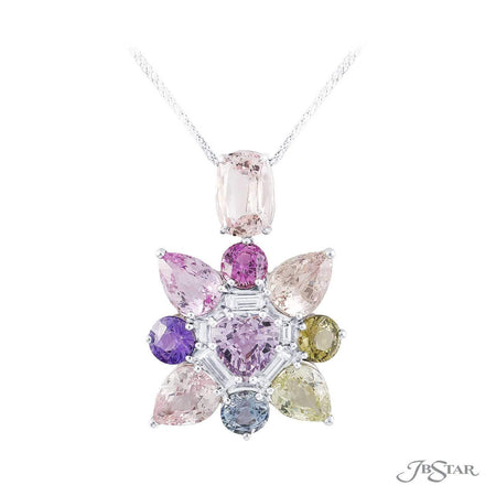 Dazzling multi-colored sapphire pendant featuring pear shaped, round and cushion-cut certified
