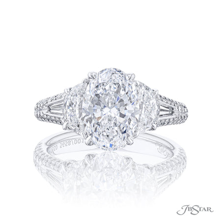 Platinum 2.48 ct Oval Diamond Engagement Ring with half moon side diamonds 5658-001