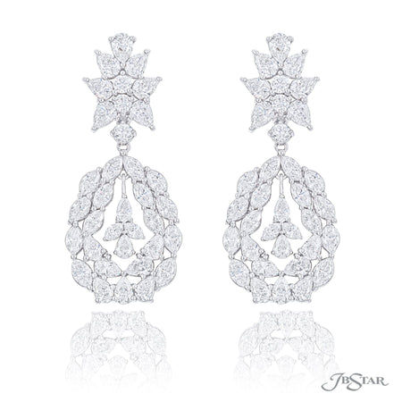 Magnificent diamond chandelier earrings featuring pear shaped, marquise and round diamonds. Handcrafted in pure platinum. [details] Stone Information SHAPE TYPE WEIGHT Pear Diamond 7.96 ctw. Marquise Diamond 4.85 ctw. Round Diamond 0.83 ctw. [enddetails] | JB Star 5659-001 Earrings