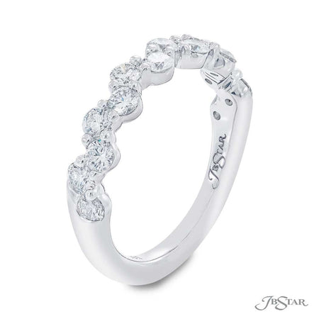 Stunning round diamond wedding band in a unique design. Handcrafted in pure platinum. [details] Stone Information SHAPE TYPE WEIGHT Round Diamond 1.02 ctw. [enddetails] | JB Star 5660-001 Anniversary & Wedding