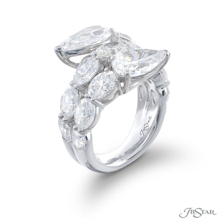 Dazzling three row diamond ring featuring 2 certified pear shaped diamonds and oval diamonds in a stunning design. Handcrafted in pure platinum. [details] Stone Information SHAPE TYPE WEIGHT Pear Oval Diamond Diamond 3.82 ctw. 5.95 ctw. [enddetails] | JB Star 5669-008 Diamond Centers & Engagement
