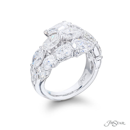 5669-010 | Three Row Diamond Ring Pear & Oval Cut 6.06 ctw. Side View