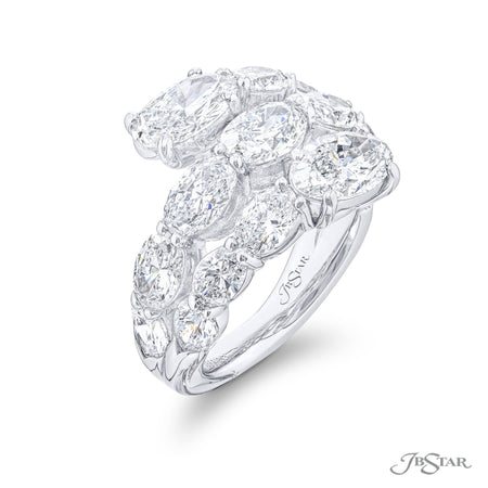 5669-011 | Three Row Diamond Ring Oval & Pear Cut Certified 6.37 ctw. Side View