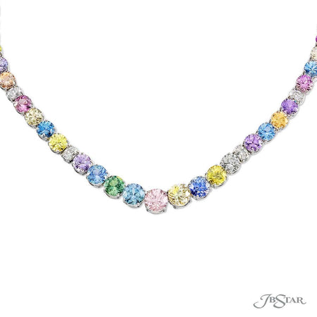 Magnificent multi-color sapphire necklace featuring round