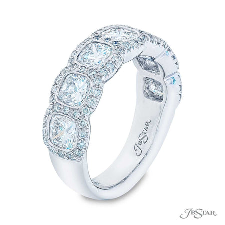 Dazzling diamond wedding band featuring 7 cushion-cut diamonds in a stunning micro pave bezel-setting. Handcrafted in pure platinum. [details] Stone Information SHAPE TYPE WEIGHT Cushion Diamond 2.06 ctw. Round Diamond 0.30 ctw. [enddetails] | JB Star 5683-002 Anniversary & Wedding