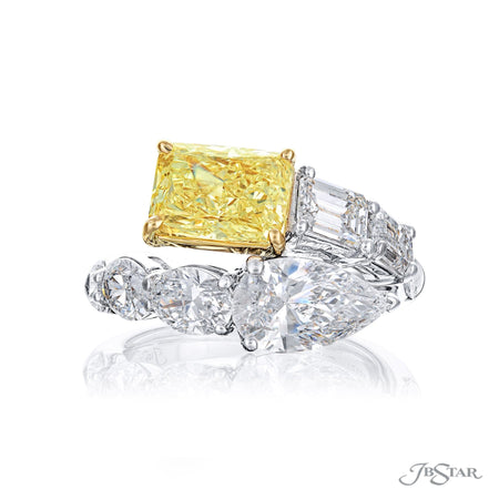 5697-004 | Twogether Fancy Yellow Diamond Ring Radiant GIA Certified Front View