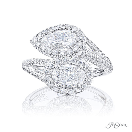 Platinum Two-Stone Pear and Oval Diamond Engagement Ring in Micro Pave Bezel Setting 5700-001