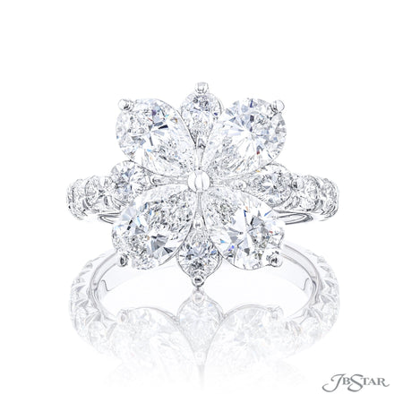 5709-001 | Floral Diamond Ring Pear Shaped 2.82 ctw. GIA Certified Front View