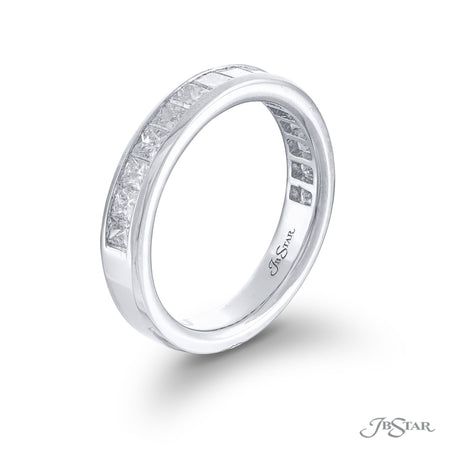 Stunning diamond wedding band featuring 15 princess-cut diamonds in a center channel. Handcrafted in pure platinum. [details] Stone Information SHAPE TYPE WEIGHT Princess Diamond 0.63 ctw. [enddetails] | JB Star 5711-001 Anniversary & Wedding