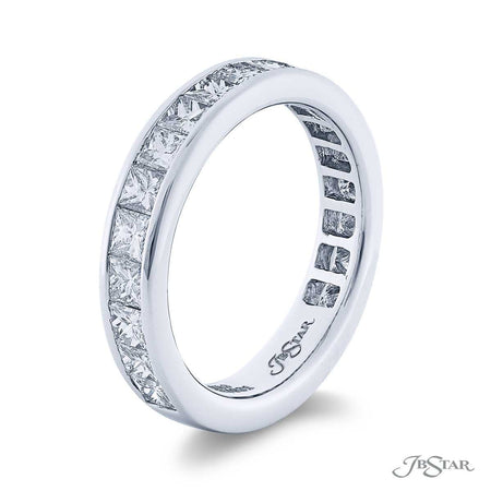 Gorgeous diamond wedding band featuring 19 princess-cut diamonds in a channel setting. Handcrafted in pure platinum. [details] Stone Information SHAPE TYPE WEIGHT Princess Diamond 1.85 ctw. [enddetails] | JB Star 5712-001 Anniversary & Wedding