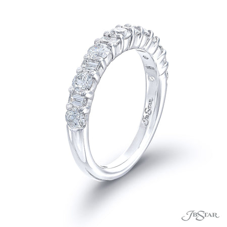 Stunning diamond wedding band featuring straight baguette and round diamonds in an alternating design. Handcrafted in pure platinum. [details] Stone Information SHAPE TYPE WEIGHT Straight Baguette Diamond 0.36 ctw. Round Diamond 0.80 ctw. [enddetails] | JB Star 5716-002 Anniversary & Wedding