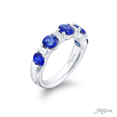 5717-001 | Sapphire & Diamond Wedding Band Round 2.73 ctw. Side View