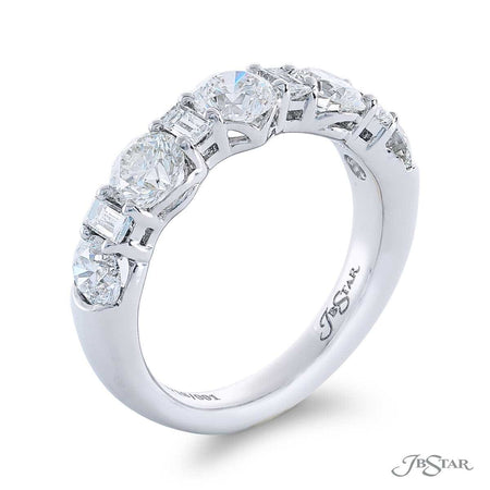 Gorgeous diamond wedding band featuring round diamonds alternating between beautiful straight baguette diamonds. Handcrafted in pure platinum. [details] Stone Information SHAPE TYPE WEIGHT Round Diamond 1.94 ctw. Straight Baguette Diamond 0.34 ctw. [enddetails] | JB Star 5718-001 Anniversary & Wedding