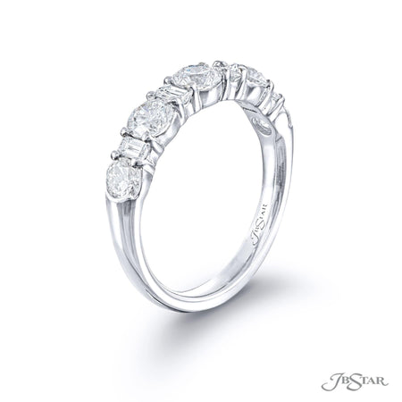Stunning diamond wedding band featuring round diamonds and straight baguette diamonds in an alternating design. Handcrafted in pure platinum. [details] Stone Information SHAPE TYPE WEIGHT Round Diamond 1.30 ctw. Straight Baguette Diamond 0.34 ctw. [enddetails] | JB Star 5723-004 Anniversary & Wedding