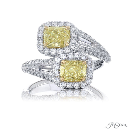 The stunning forever Twogether two stone ring featuring 2 fancy yellow cushion-cut diamonds embracing each other in a micro pave setting. Handcrafted in pure platinum. [details] Center Stone(s) SHAPE TYPE WEIGHT COLOR Cushion Diamond 1.78 ctw. Fancy Yellow Stone Information SHAPE TYPE WEIGHT Tapered Baguette Diamond 0.18 ctw. Round Diamond 0.87 ctw. [enddetails] | JB Star 5728-001 Diamond Centers & Engagement