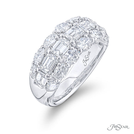 5731-001 | Diamond Wedding Band Emerald & Oval Cut East to West Design Side View