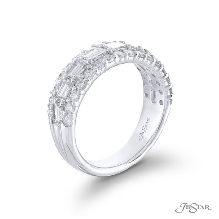 5732-001 | Multi-Row Diamond Band Round & Emerald-Cut East to West Side View