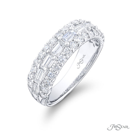 5732-002 | Multi-Row Diamond Wedding Band Straight Baguette & Round Side View