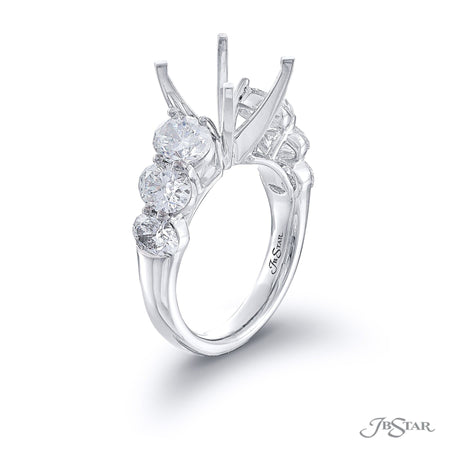 Dazzling diamond semi-mount featuring 6 graduating oval diamonds in a shared prong setting. Handcrafted in pure platinum. [details] Stone Information SHAPE TYPE WEIGHT Oval Diamond 3.04 ctw. [enddetails] | JB Star 5742-001 Semi Mount Settings