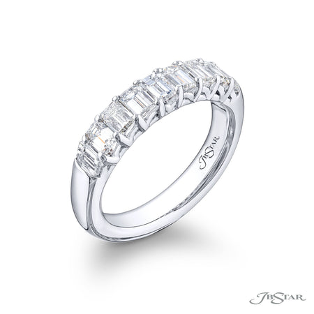 5748-002 | Diamond Wedding Band Emerald-Cut 1.55 ctw. Shared Prong SIde View