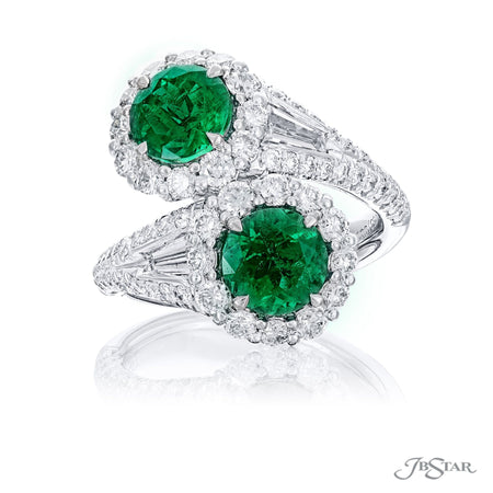 Magnificent Twogether ring featuring 2 certified round emeralds embraced by tapered baguette diamonds in a micro pave setting. Handcrafted in pure platinum. [details] Center Stone(s) SHAPE TYPE WEIGHT Round Emerald 2.28 ctw. CDC Stone Information SHAPE TYPE WEIGHT Tapered Baguette Round Diamond Diamond 0.38 ctw. 1.37 ctw. [enddetails] | JB Star 5753-001 Precious Color Rings
