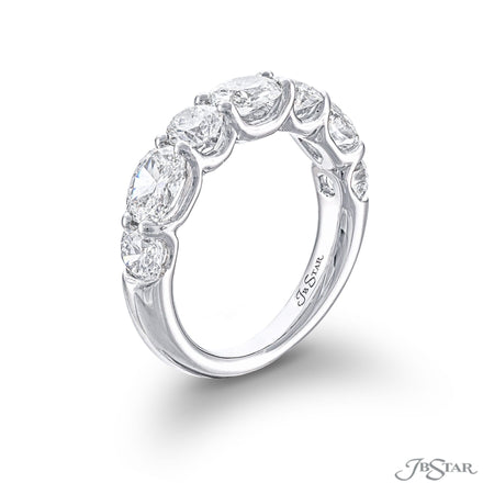 Dazzling diamond wedding band featuring oval and round diamonds in an alternating shared prong setting. Handcrafted in pure platinum. [details] Stone Information SHAPE TYPE WEIGHT Oval Diamond 1.37 ctw. Round Diamond 1.23 ctw. [enddetails] | JB Star 5759-001 Anniversary & Wedding