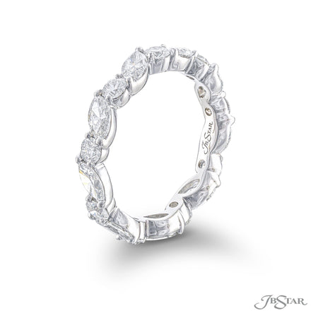 5762-001-Eternity band marquise and round diamonds east to west  side view