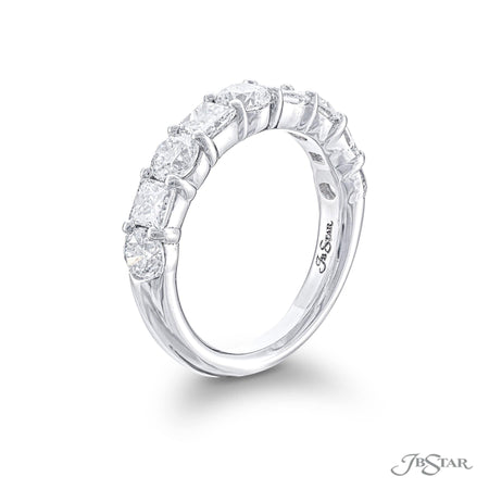 Gorgeous diamond wedding band featuring princess-cut and round diamonds in a shared prong setting. Handcrafted in pure platinum. [details] Stone Information SHAPE TYPE WEIGHT Round Diamond 1.46 ctw. Princess Diamond 1.02 ctw. [enddetails] | JB Star 5763-001 Anniversary & Wedding