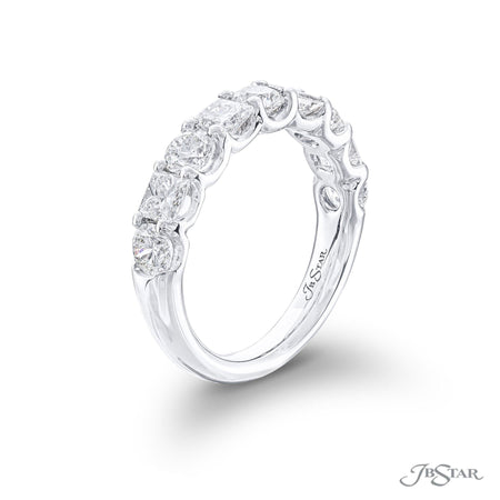 Stunning diamond wedding band featuring princess-cut and round diamonds in an alternating design. Handcrafted in pure platinum. [details] Stone Information SHAPE TYPE WEIGHT Round Diamond 1.13 ctw. Princess Diamond 1.01 ctw. [enddetails] | JB Star 5766-001 Anniversary & Wedding