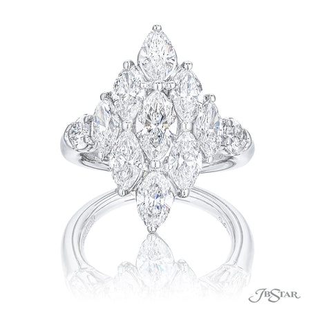 Gorgeous diamond ring featuring marquise and pear shaped diamonds in a unique design. Handcrafted in pure platinum. [details] Stone Information SHAPE TYPE WEIGHT Marquise Diamond 3.02 ctw. Pear Diamond 0.54 ctw. [enddetails] | JB Star 5772-001 Diamond Centers & Engagement