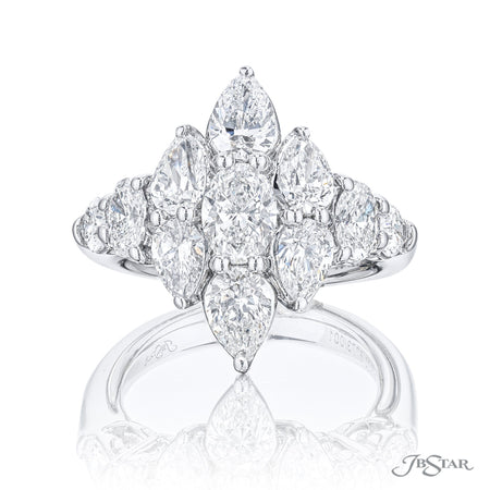 Beautiful diamond ring featuring pear shaped and oval diamonds in a stunning design. Handcrafted in pure platinum. [details] Stone Information SHAPE TYPE WEIGHT Pear Diamond 2.43 ctw. Oval Diamond 1.10 ctw. [enddetails] | JB Star 5773-001 Diamond Centers & Engagement