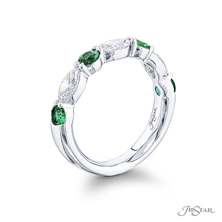 Stunning emerald and diamond band featuring round emeralds and marquise diamonds in an alternating shared prong setting. Handcrafted in pure platinum. [details] Stone Information SHAPE TYPE WEIGHT Round Emerald 0.52 ctw. Marquise Diamond 0.75 ctw. [enddetails] | JB Star 5779-004 Anniversary & Wedding