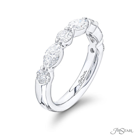 5779-005 | Marquise & Round Diamond Wedding Band 0.83 ctw Shared Prong Side View
