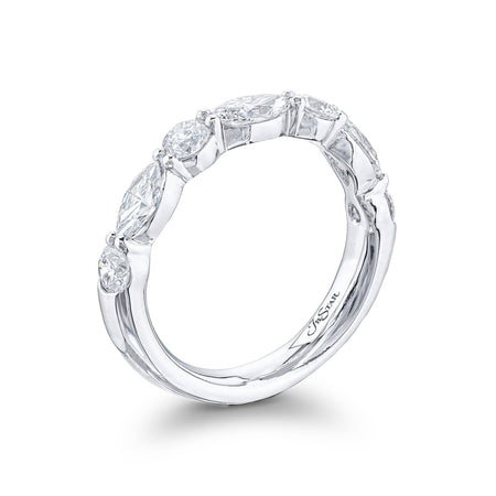 Stunning diamond wedding band featuring marquise and round diamonds in a shared prong setting. Handcrafted in pure platinum. [details] Stone Information SHAPE TYPE WEIGHT Marquise Round Diamond Diamond 0.81 ctw. 0.64 ctw. [enddetails] | JB Star 5779-006 Anniversary & Wedding