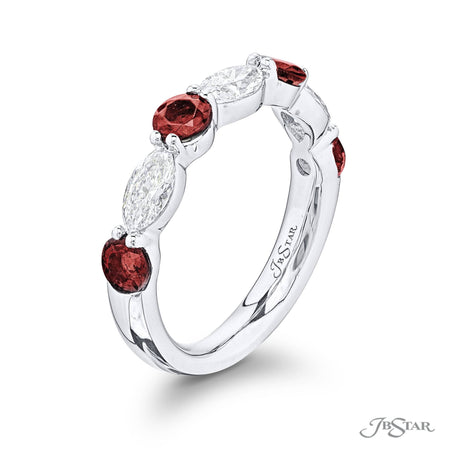 Dazzling ruby and diamond band featuring round rubies and marquise diamonds in an alternating shared prong setting. Handcrafted in pure platinum. [details] Stone Information SHAPE TYPE WEIGHT Round Ruby 0.78 ctw. Marquise Diamond 1.00 ctw. [enddetails] | JB Star 5779-007 Anniversary & Wedding